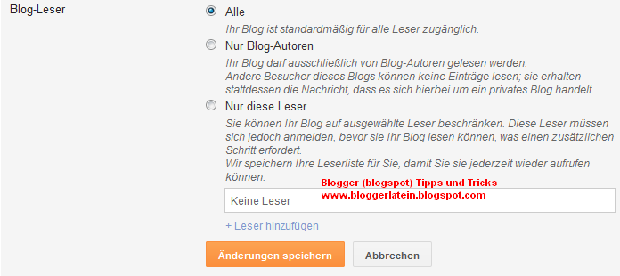 Blogger Blogspot Blog öffentlich machen.