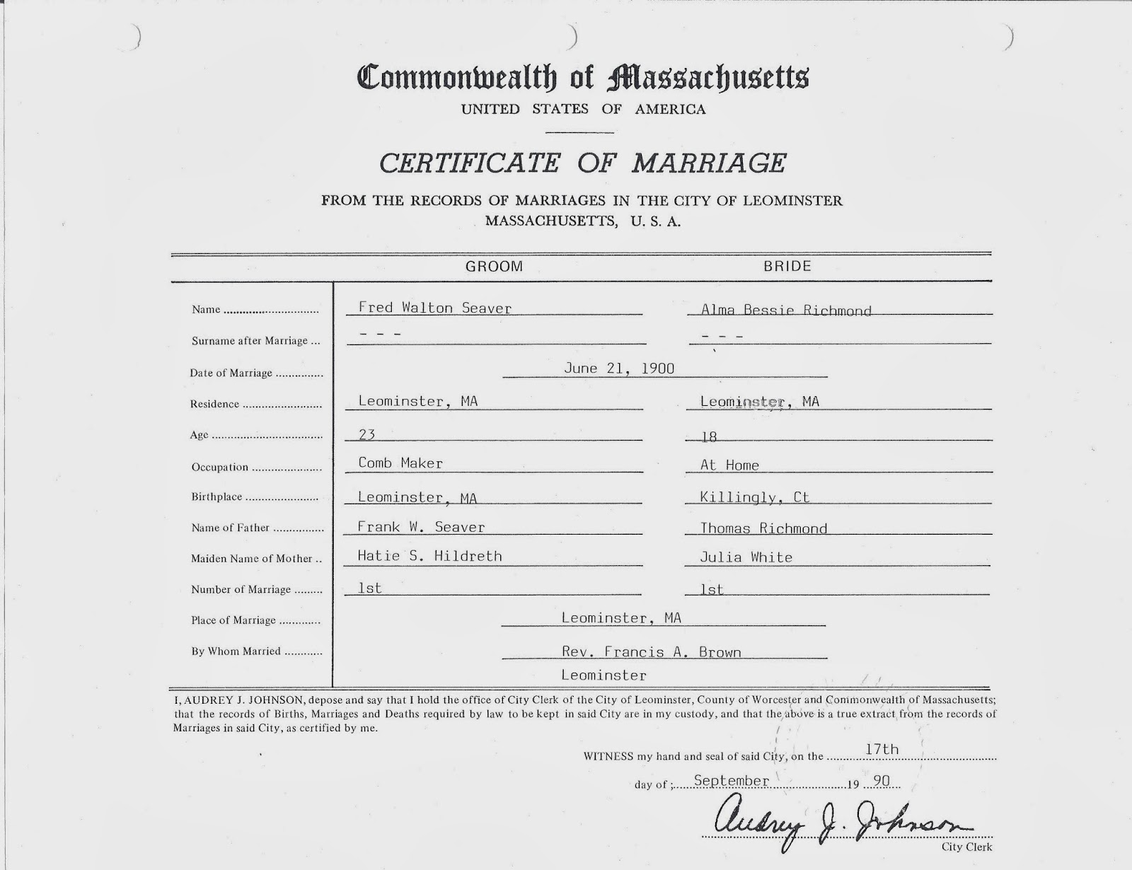 Genea musings treasure chest thursday post 198 1900 marriage the transcription of this certificate is form fields underlined handwritten portions in italics aiddatafo Images