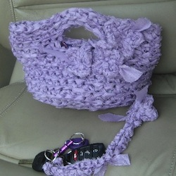 Lavender Crochet Satin Fabric Lined Clutch with Key Fob by GmaEllen