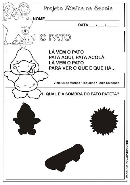 Atividade Música na Escola O Pato Projeto Vinicius de Moraes
