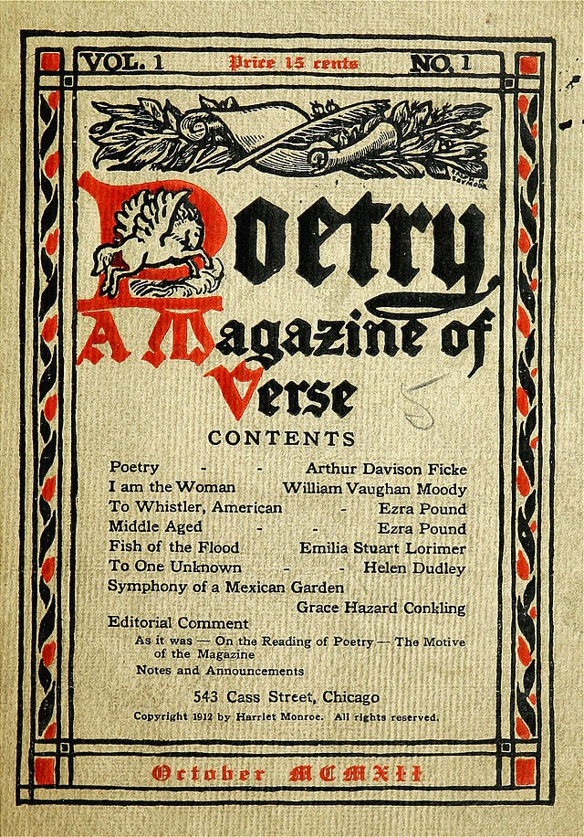 Poetry aq Magazine of Verse Cover Volume 1, number 1