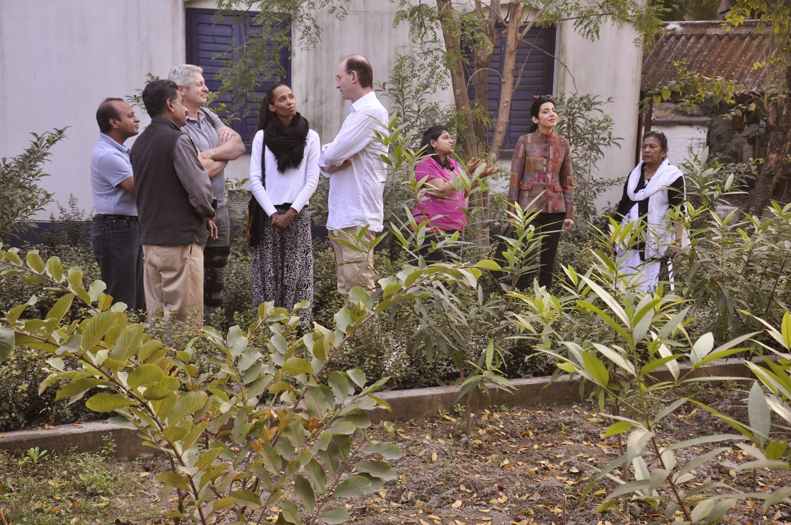 Philipp and Sara Schoeller, Walter and Delphine Raizner, planting trees in Mulvany House an old age home in Kolkata