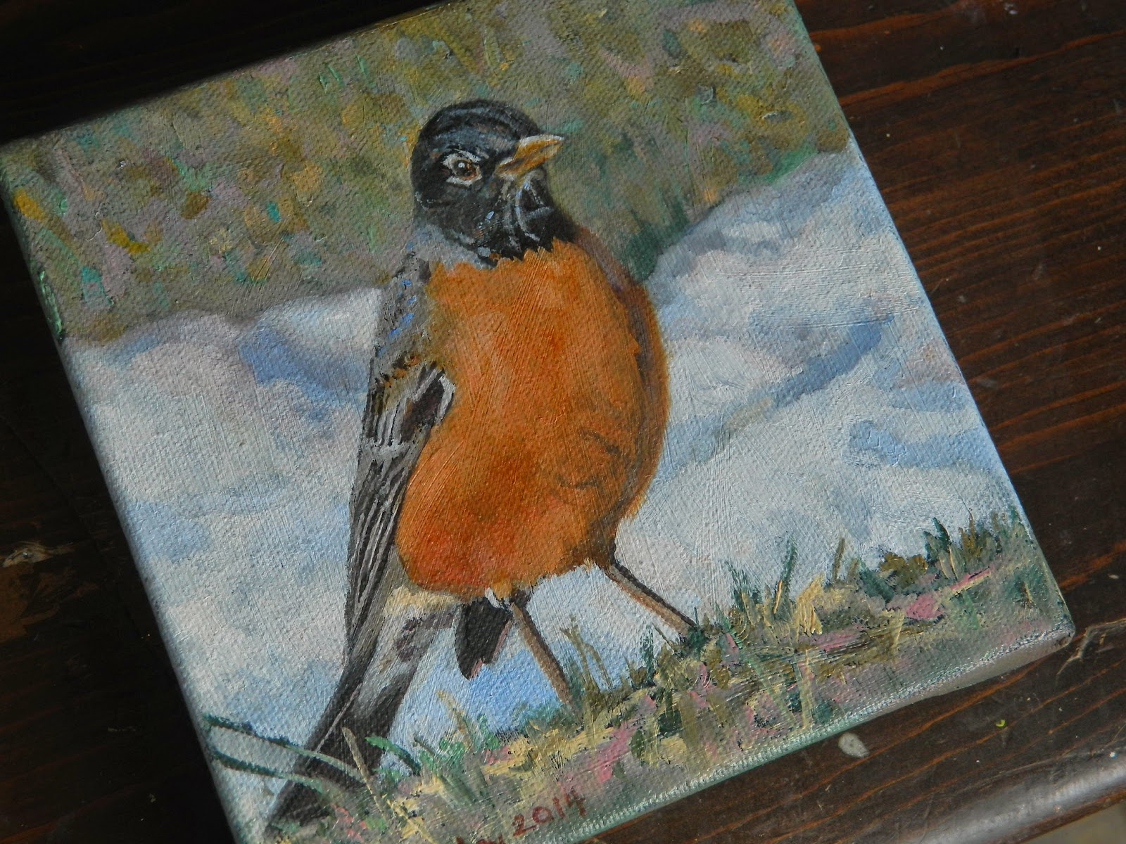 robin bird spring oil painting