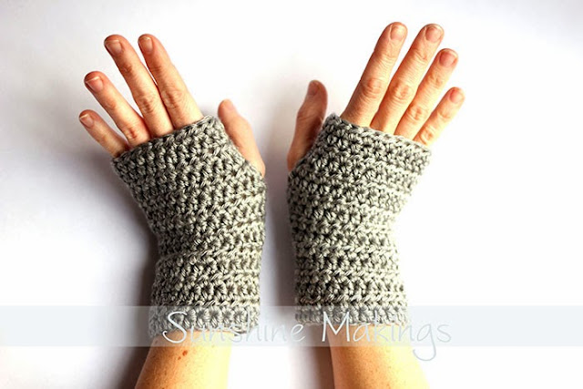 grey crocheted fingerless mittens
