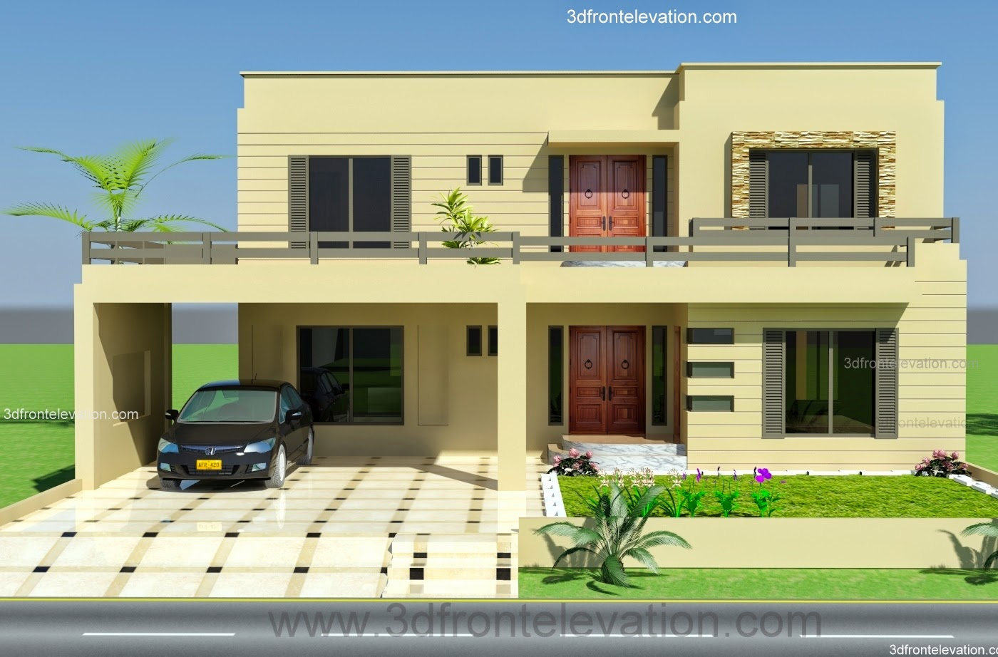 3d front design house 2 kanal 3d front for Acreage style home designs