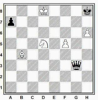 Estudio artístico de ajedrez compuesto por V. y M. Platov (Rietsch, 1909)