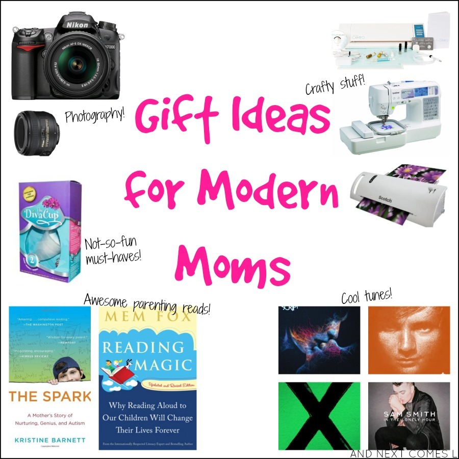 Gift ideas for modern moms including music and book suggestions, photography gear, and craft stuff from And Next Comes L