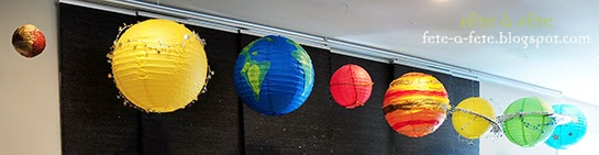 F te f te little astronaut birthday party - Hanging planets decorations ...