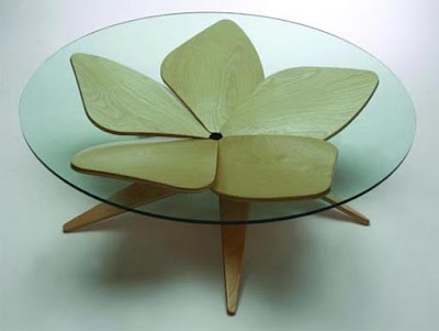Lotus Table, coffee table, wood and glass, 5 piece, one pattern