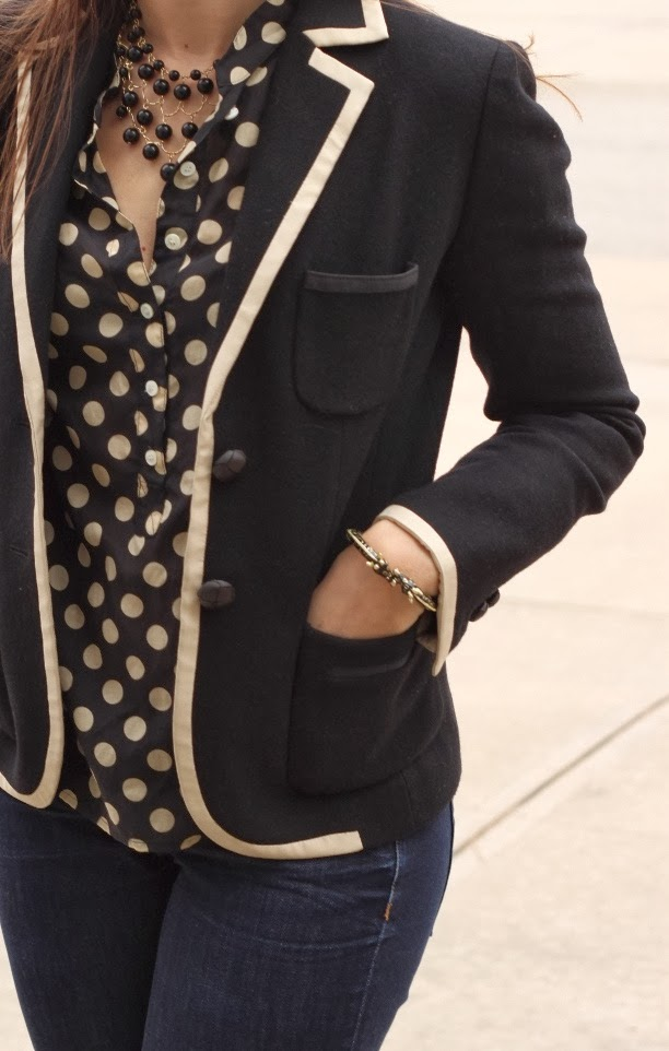 Office dress fashion with polka dots and blazer