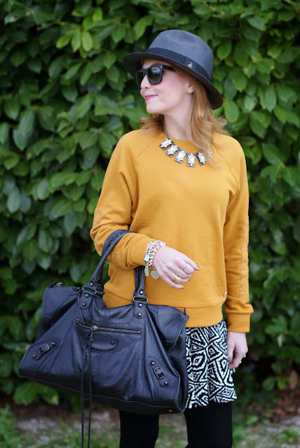 outfits, mustard sweatshirt, balenciaga work bag, fashion and cookies, fashion blogger