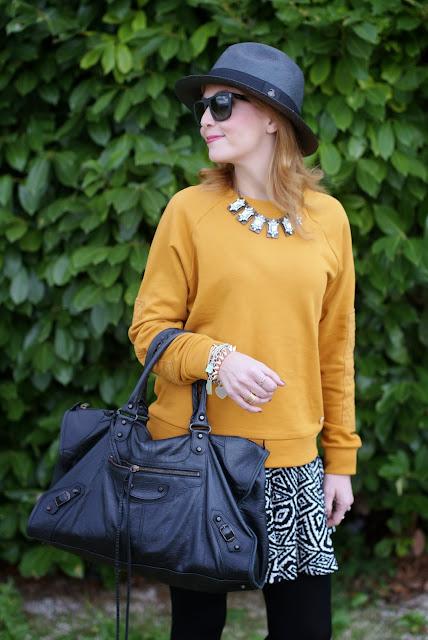 outfits, mustard sweatshirt, balenciaga work bag, fashion and cookies, fashion blogger