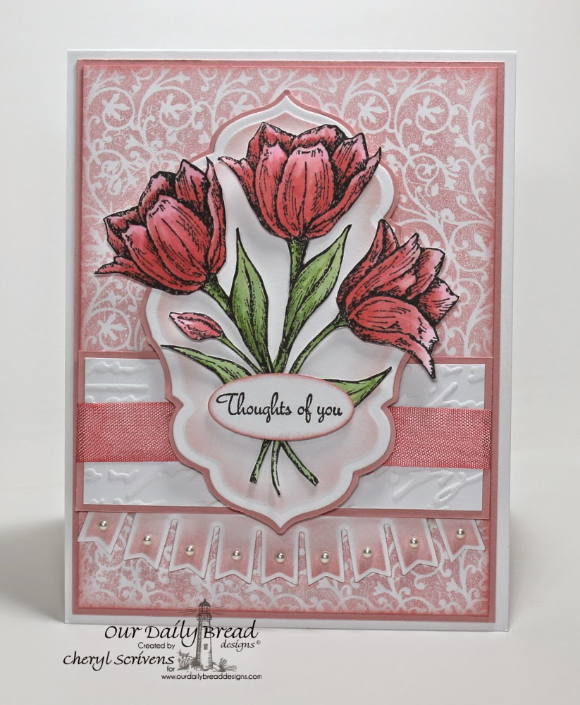 Our Daily Bread Designs, ODBDSLC212, Tulip Corner, Rose Bouquet, Chalkboard Vine Background, Pennant Swag Die, Antique Labels & Border Dies, CherylQuilts, Designed by Cheryl Scrivens
