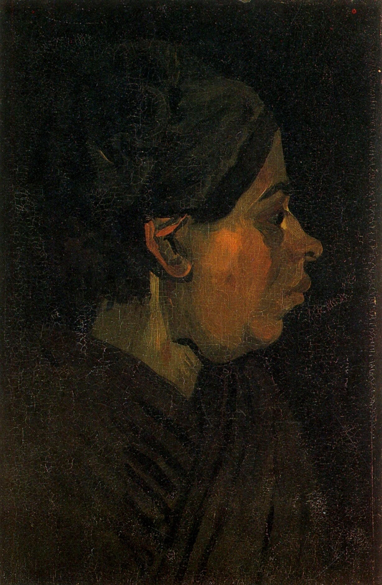 Head of a Peasant Woman with Dark Cap (F 135, JH 585) by Vincent van Gogh