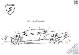 Раскраска-обводилка.Lamborghini Aventador