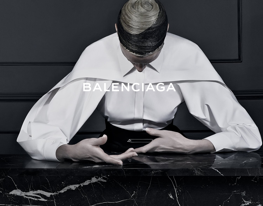 This beautiful Balenciaga Fall/Winter 2013 ad campaign shot by Steven Klein features Kristen McMenamy, represented as some sort of cloistered alabaster goddess. Her postures and colorless skin are some weird approximation of high renaissance sculpture - and I get the feeling that she is not dead, but would be very cool to the touch.