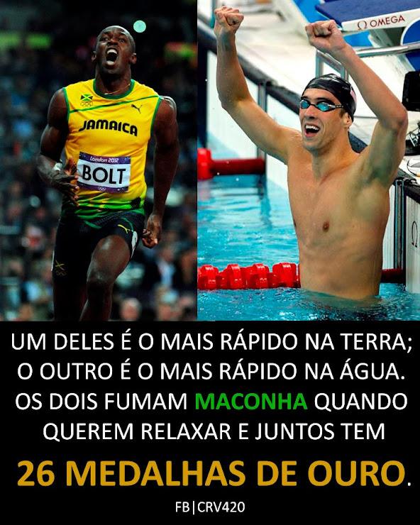 Phelps e Bolt, os dois homens mais rápidos do mundo. Dois maconheiros, DOIS CAMPEÕES!