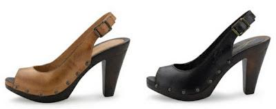 Zapatos de tacón en cuero marrón claro o negro