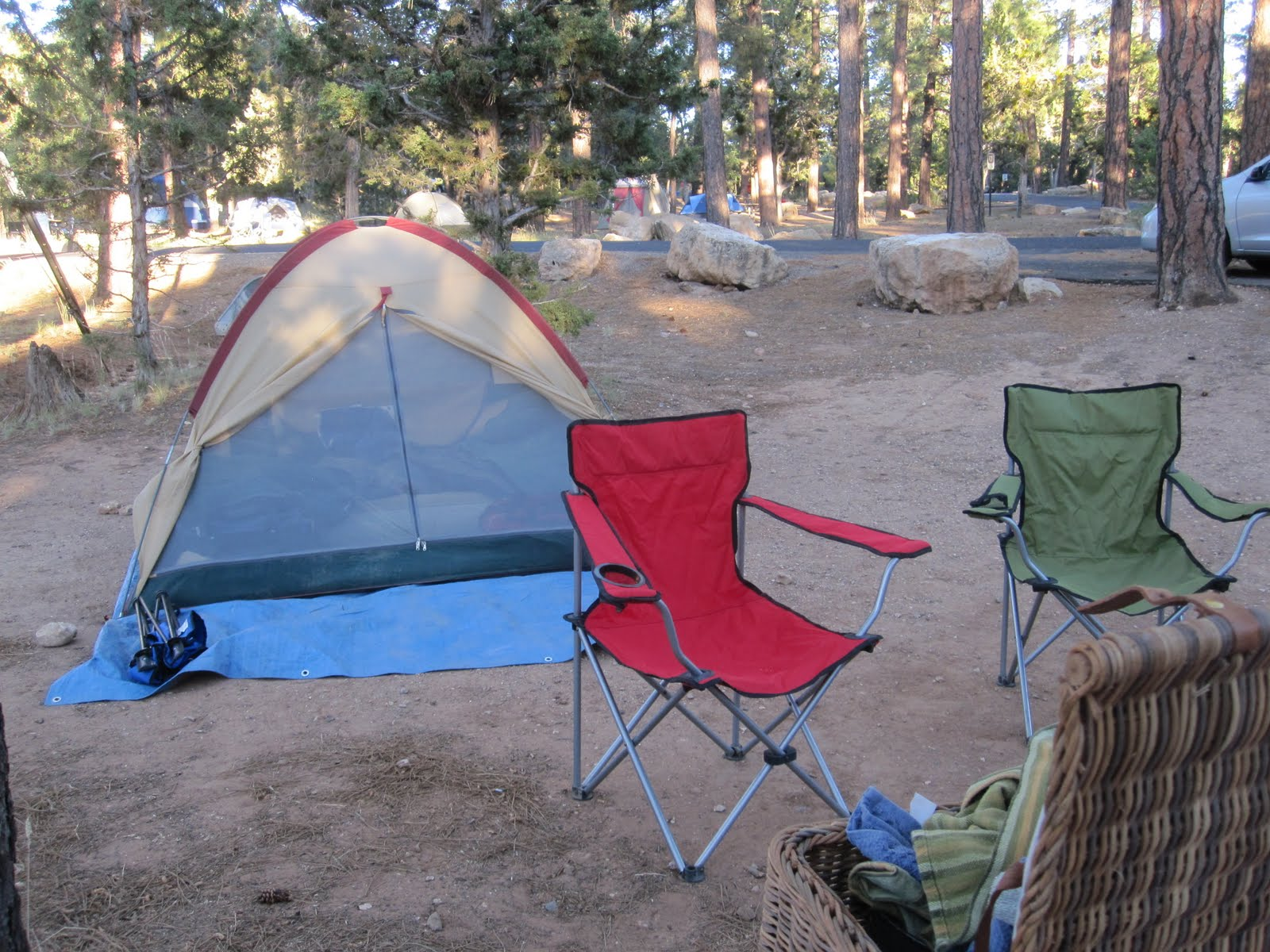 Our campsite at Mather Campground. Dinner night #1