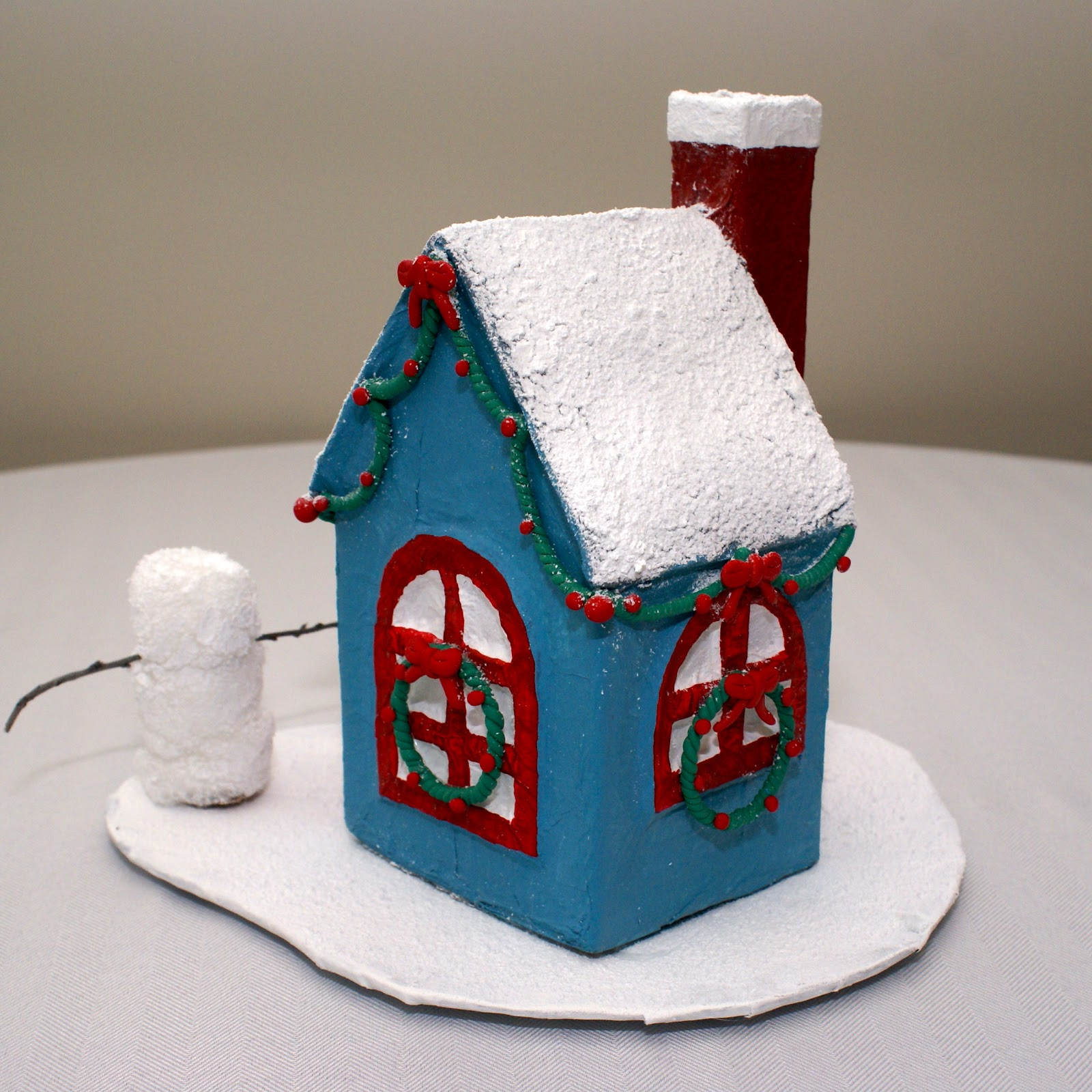 The cozy condo paper mache mini christmas house for Paper mache christmas