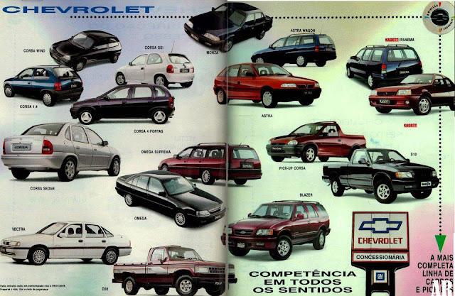 Anúncio com a completa linha da Chevrolet para o ano de 1996.