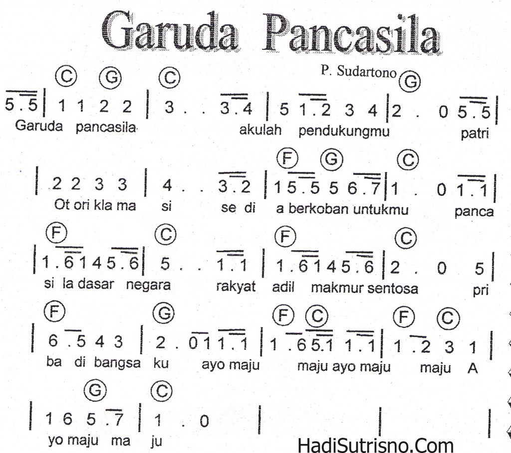 Not lagu Wajib Nasional GARUDA PANCASILA [Foto]