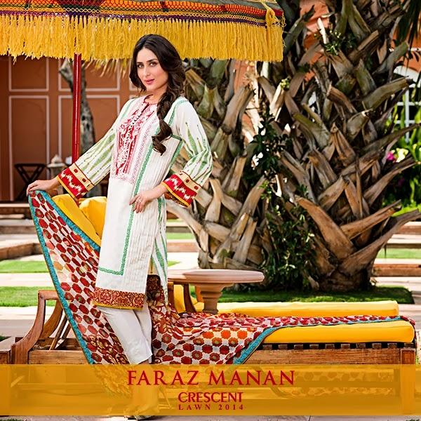 FarazMananCrescentLawn2014 wwwfashionhuntworldblogspotcom 04 - Faraz Manan Crescent Lawn 2014