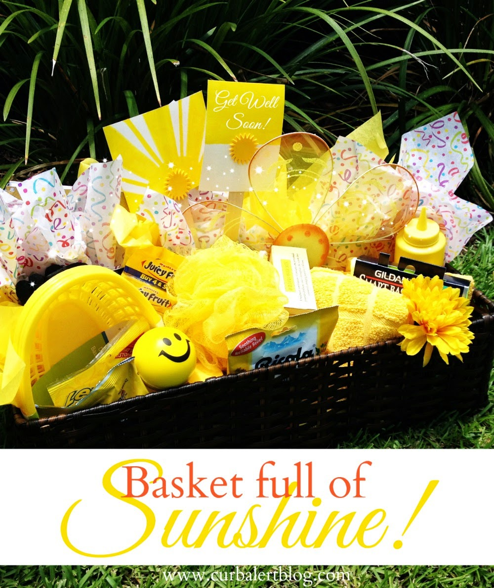 Get Well Soon Gift:  Basket full of Sunshine & Yellow Goodies via Curb Alert! www.curbalertblog.com