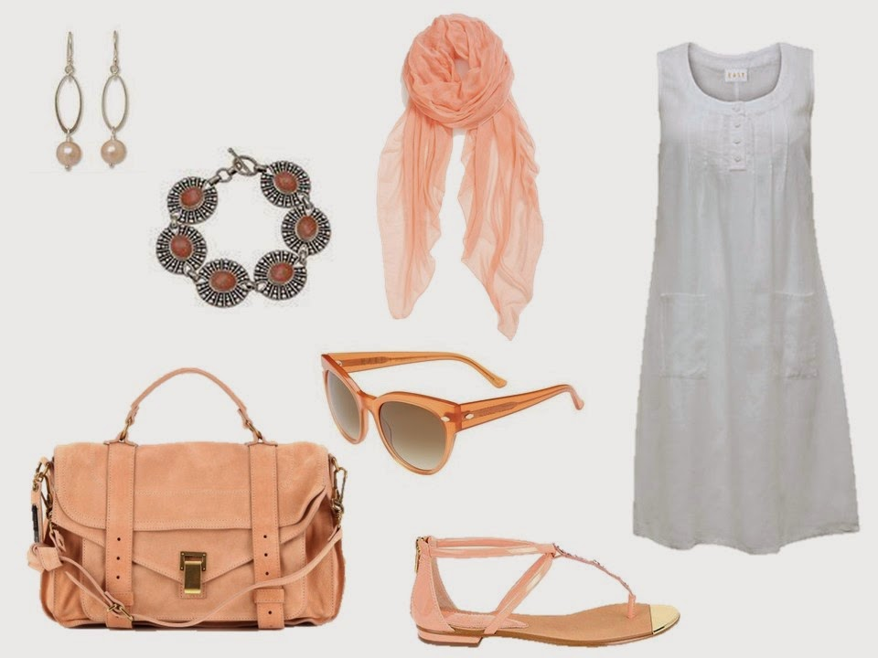 simple white summer dress with soft peach accessories