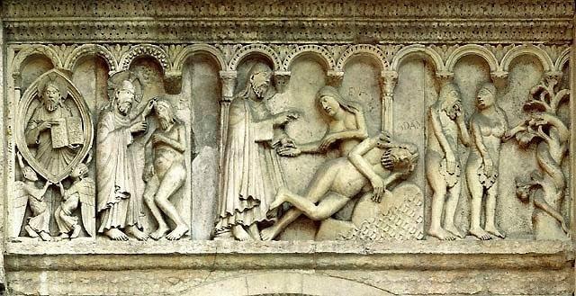 Wiligelmo, Creazione di Eva, 1106-10, bassorilievo in marmo, Modena, Duomo. dans immagini sacre genesi+eva