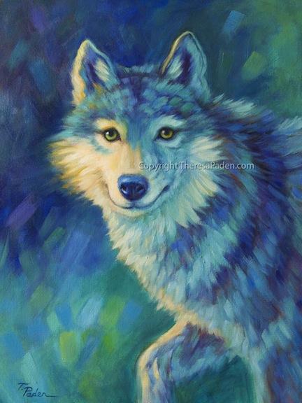 California Artwork: Colorful Impressionistic Wolf Oil ...
