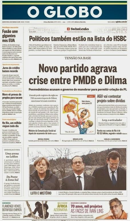 Capa O Globo Rio 26 de março 2015