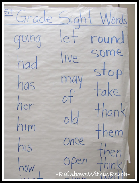 First Grade Anchor Chart of Sight Words (from Word Wall Round Up by RainbowsWithinReach)