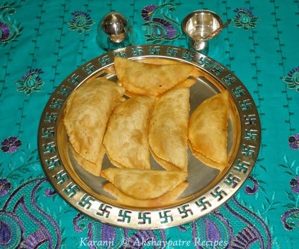 karanji in a serving plate