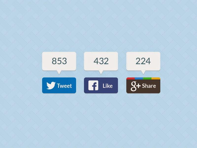 Modern Social Share Buttons PSD