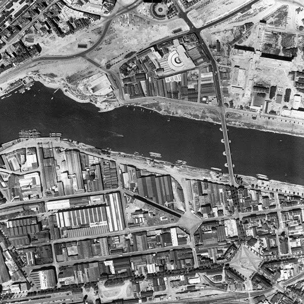 Nantes la ville d 39 apr s guerre nantes vue a rienne des for Piscine ile gloriette nantes