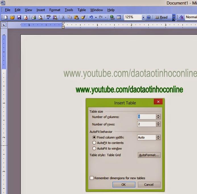 Hướng dẫn cách kẻ bảng biểu trong Word 2003