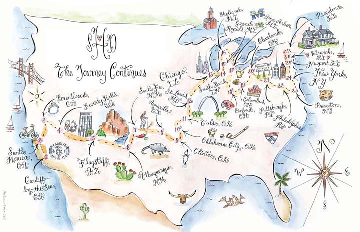 Stephannie Barba Illustration Couture Maps United States - Us map illustration