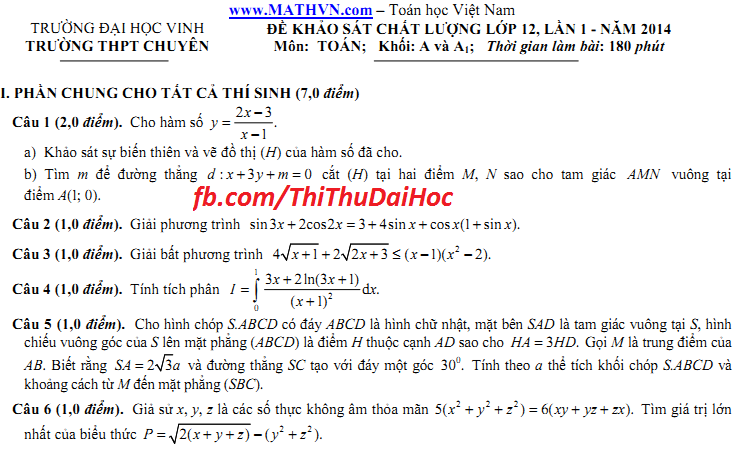 đề thi thử môn Toán khối A đầy đủ và đáp án, chuyên ĐH Vinh