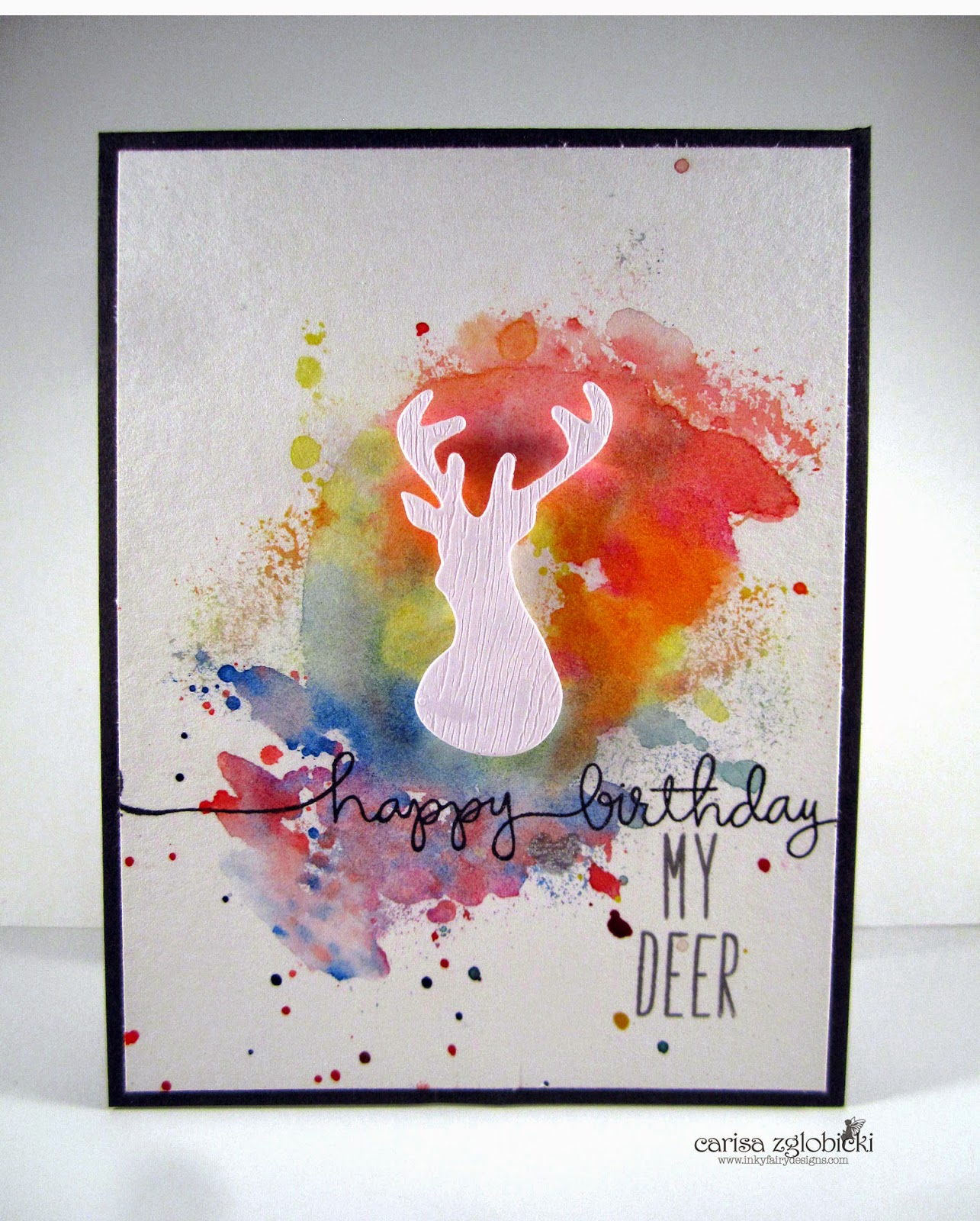 Inky Fairy Designs Watercolor Wednesday WPlus9 Birthday Card