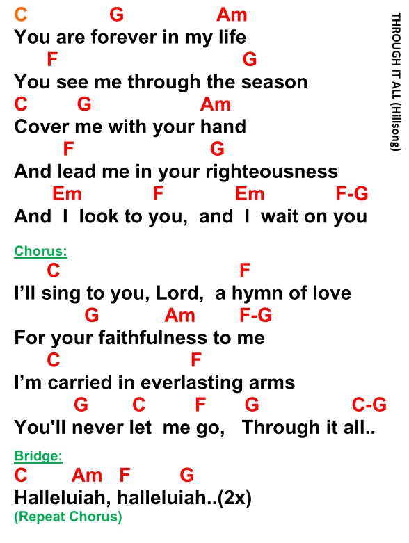 THROUGH IT ALL Hillsong - lyrics and chords ~ Faith and Music