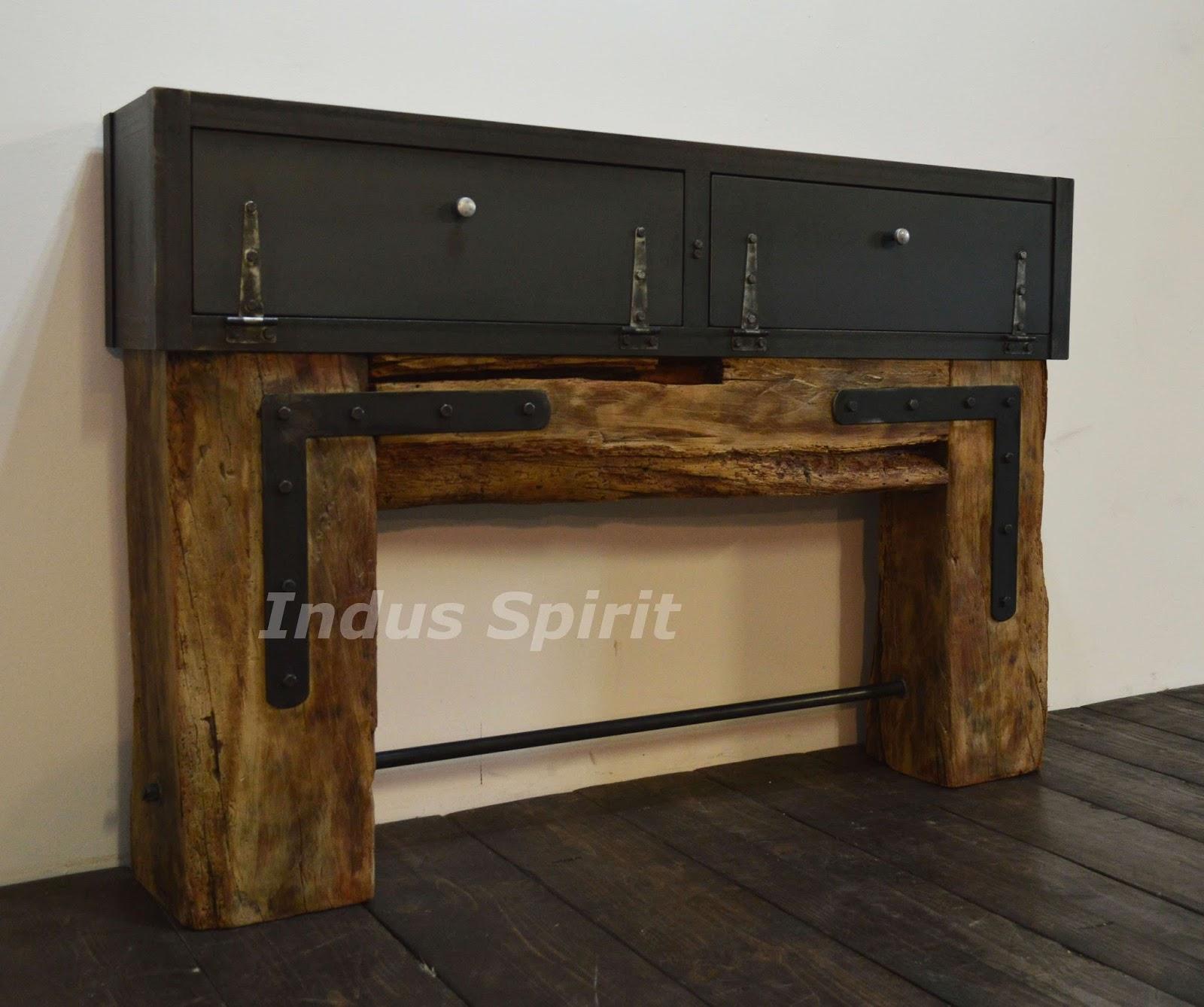 Console style industriel - Meuble salon style industriel ...
