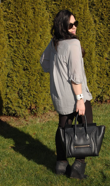 Helmet Lang draped top, Theory leather leggings, Celine Mini Luggage