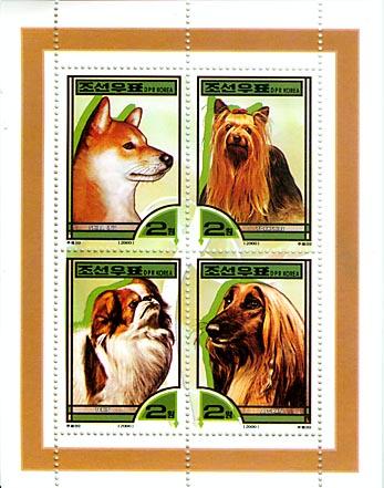 2000年朝鮮民主主義人民共和国(北朝鮮)柴犬 ヨークシャー・テリア 狆 アフガン・ハウンドの切手シート