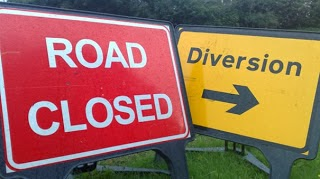 Temporary road closure and diversion signs