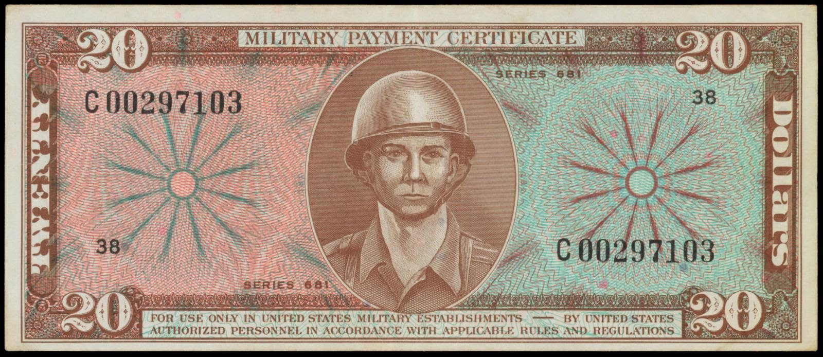 Military Payment Certificate 20 Dollars MPC Series 681