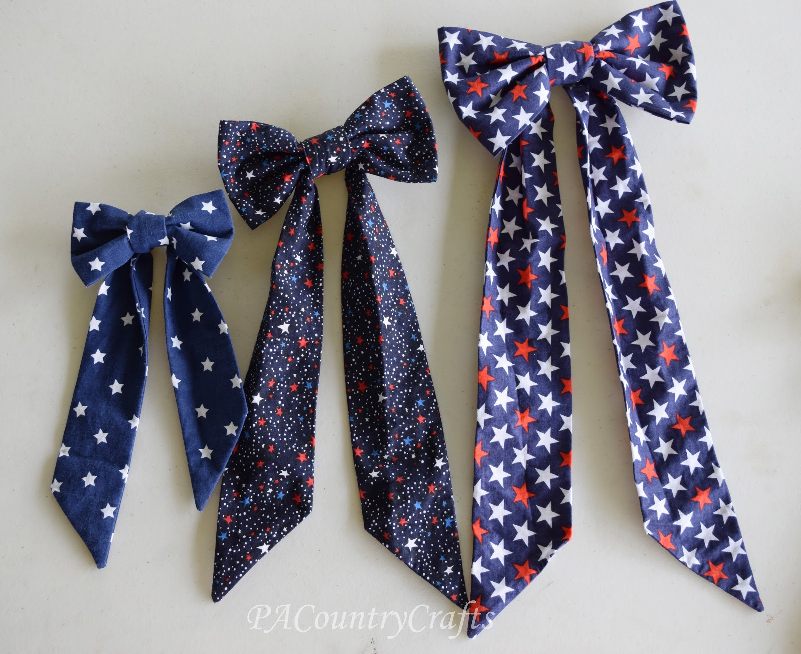 Diy fabric bow pattern and tutorial pa country crafts the small one would even work with a small loop instead of a long tie to make a hair bow or adapt it to make a bow tie jeuxipadfo Images
