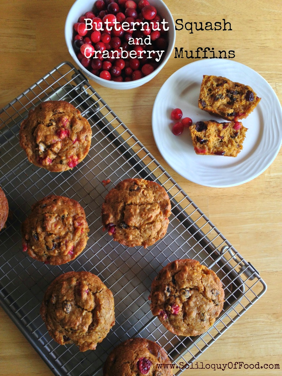 Butternut Squash and Cranberry Muffins - turn Thanksgiving leftovers into these muffins!  www.soliloquyoffood.com
