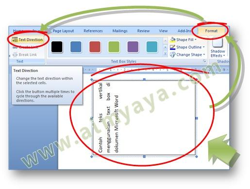 Gambar: Cara membuat arah teks menjadi vertikal menggunakan text box dalam dokumen Microsoft Word 2007