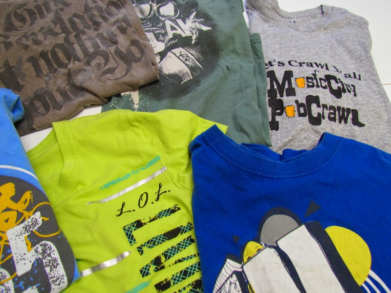 thrift store tee shirts for modern quilts